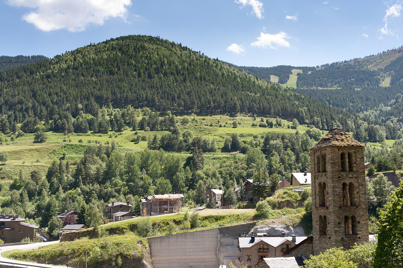 Stone tower with beautiful view of mountains and greenery - Andorra