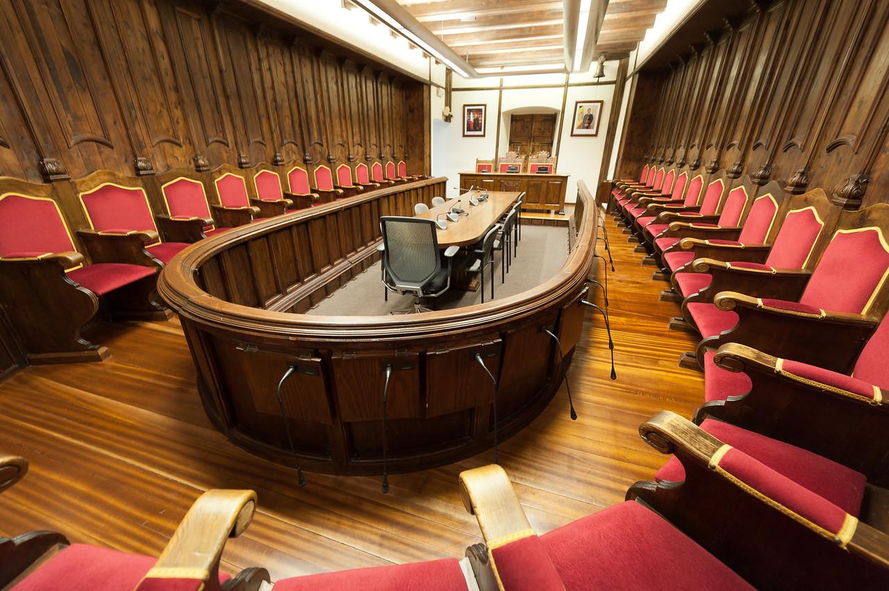 Empty room inside Casa de la Vall in Andorra