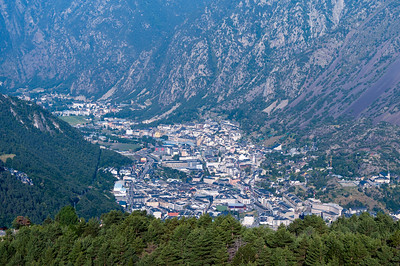 Close-up shot of dense infrastructure in a valley in Andorra