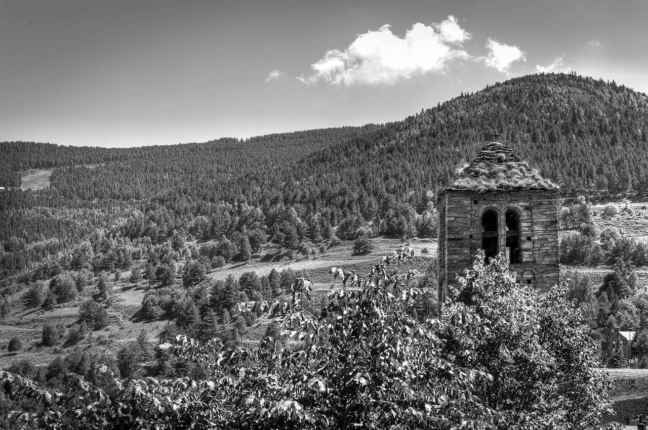 Mountains and forest canopy in B&W - Andorra