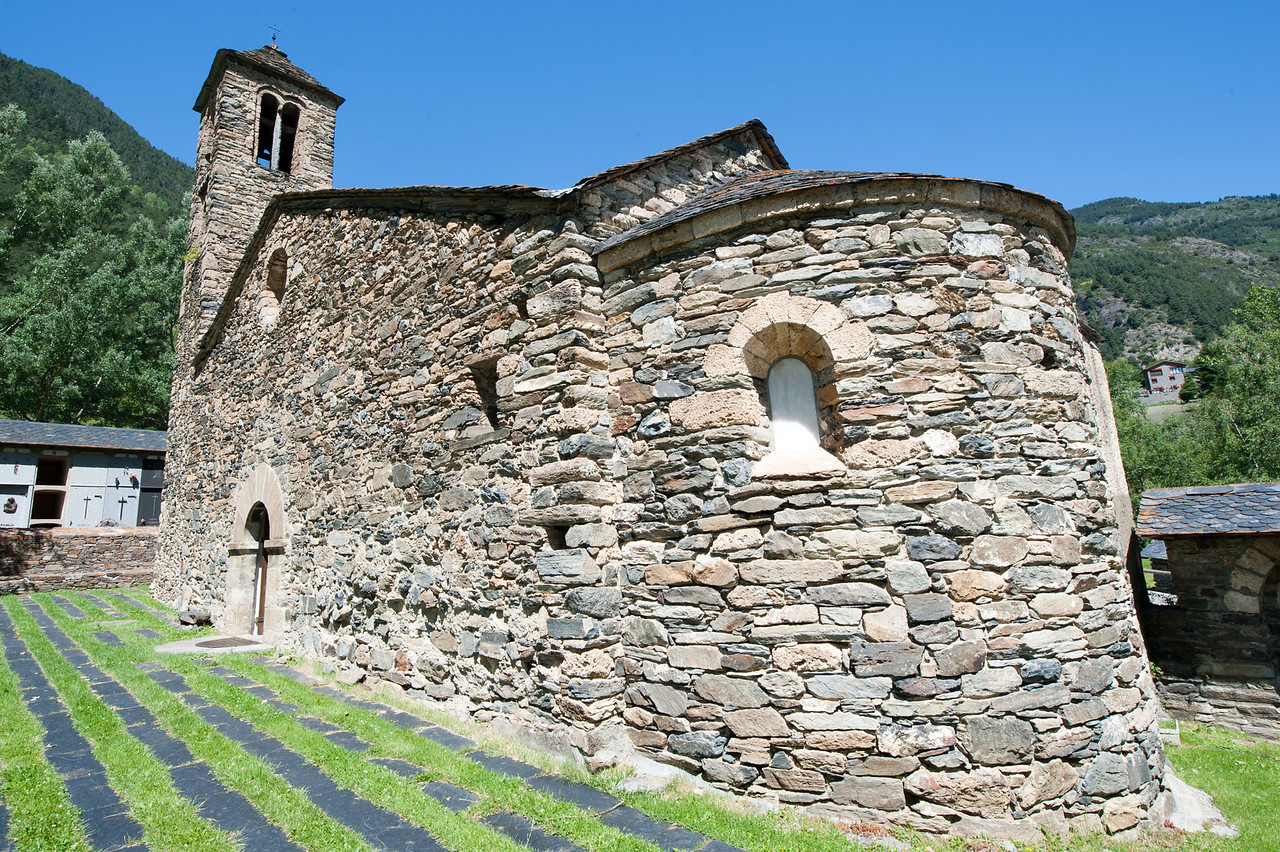 Details of an old stone church in Andorra