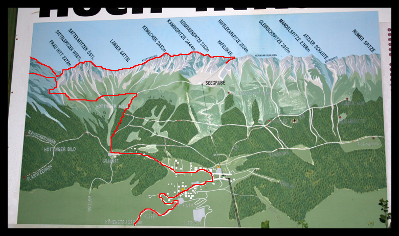This is a partial trail map of what I hiked. The red is the route I took.