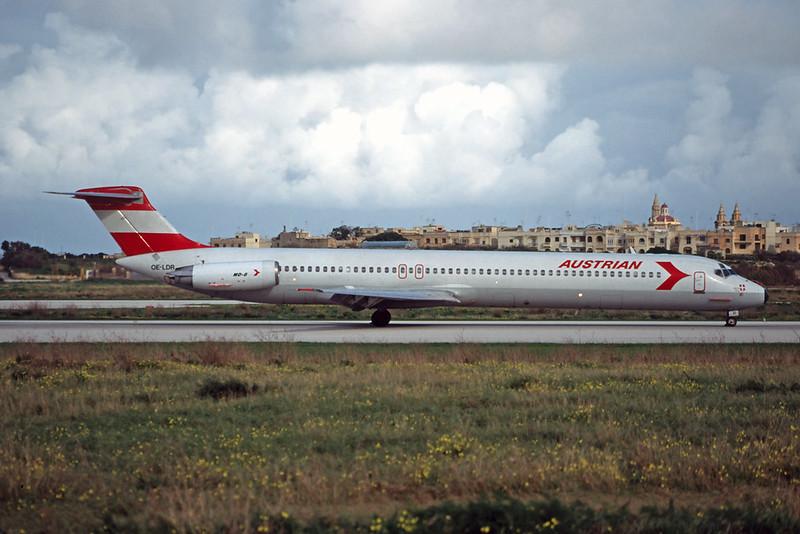 OE-LDR Douglas MD-81 c/n 48016 Malta-Luqa/LMML/MLA 13-01-96 (35mm slide)