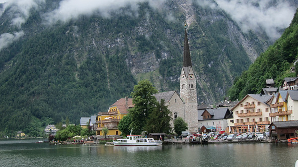 Hallstatt, Austria as seen from the adjoining lake.