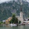 Hallstatt, Austria as seen from the adjoining lake.