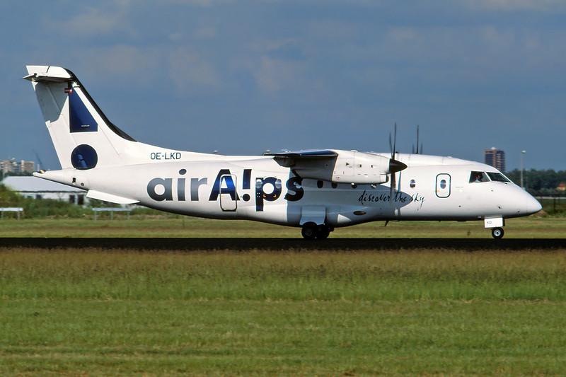 """OE-LKD Dornier Do.328-110 """"Air Alps Aviation"""" c/n 3072 Amsterdam/EHAM/AMS 11-06-04 (35mm slide)"""