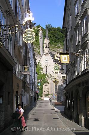 Salzburg - Griesgasse (Old Town Street) - Goldener Hirch