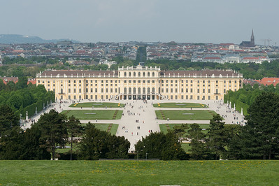 View of the Schonbrunn Palace from afar - Vienna, Austria