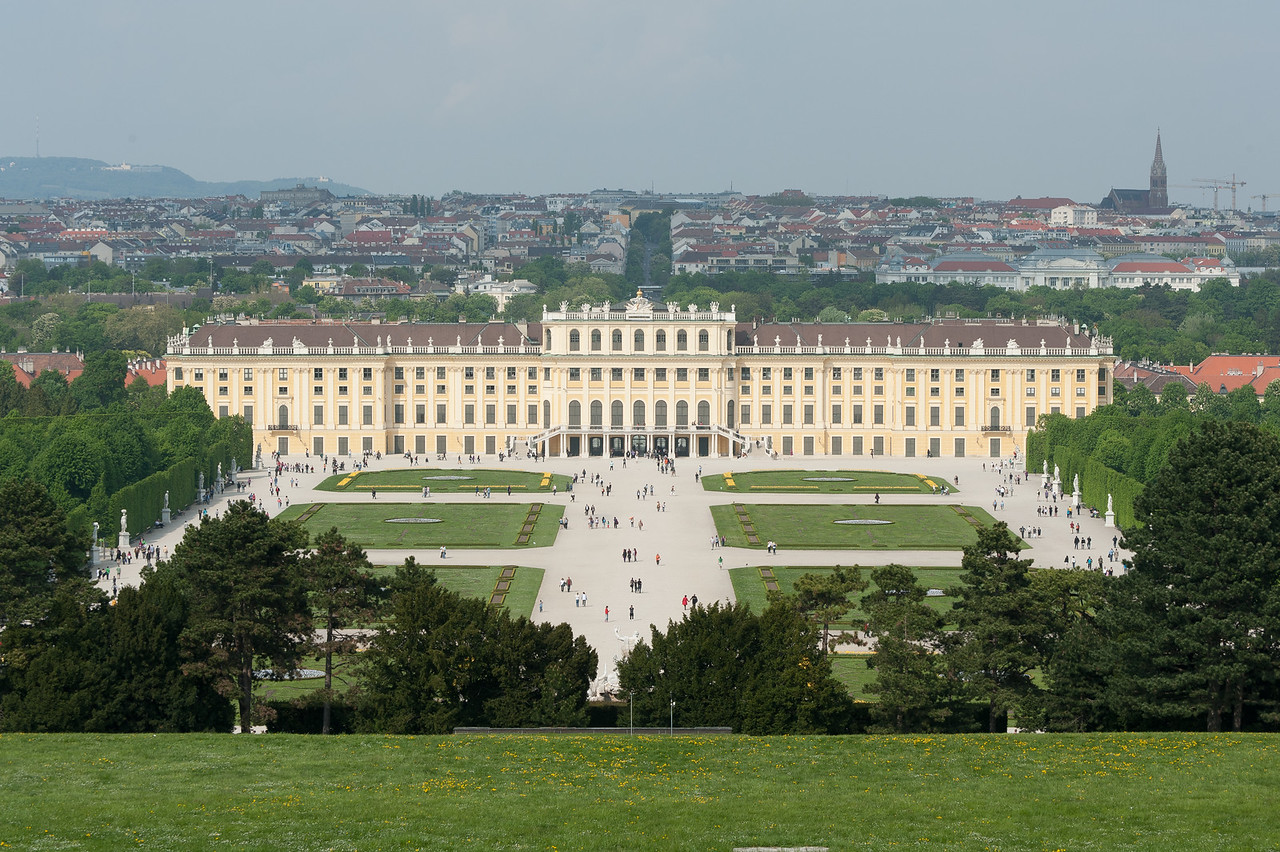 View of the Schonbrunn Palace from afar - Vienna, Austria