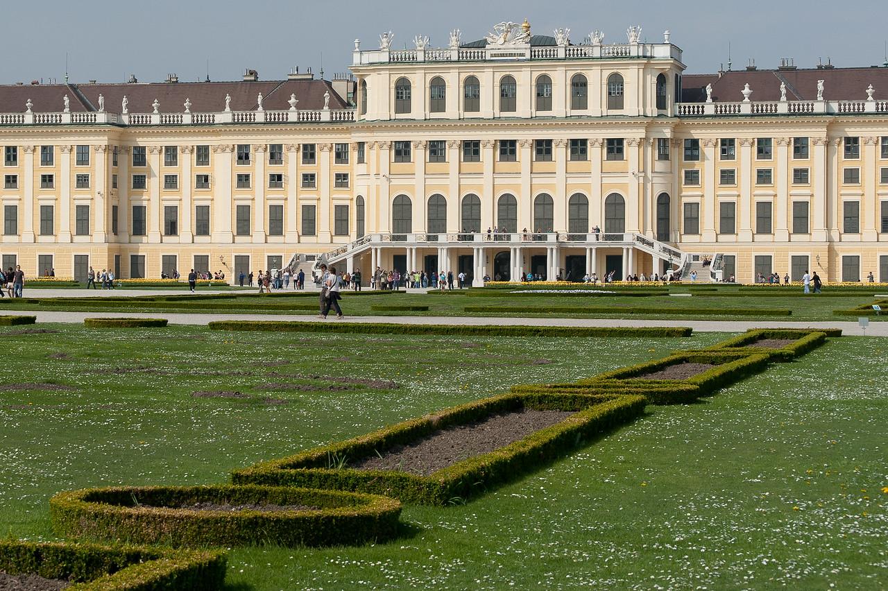 Wide shot of Schonbrunn Palace complex - Vienna, Austria