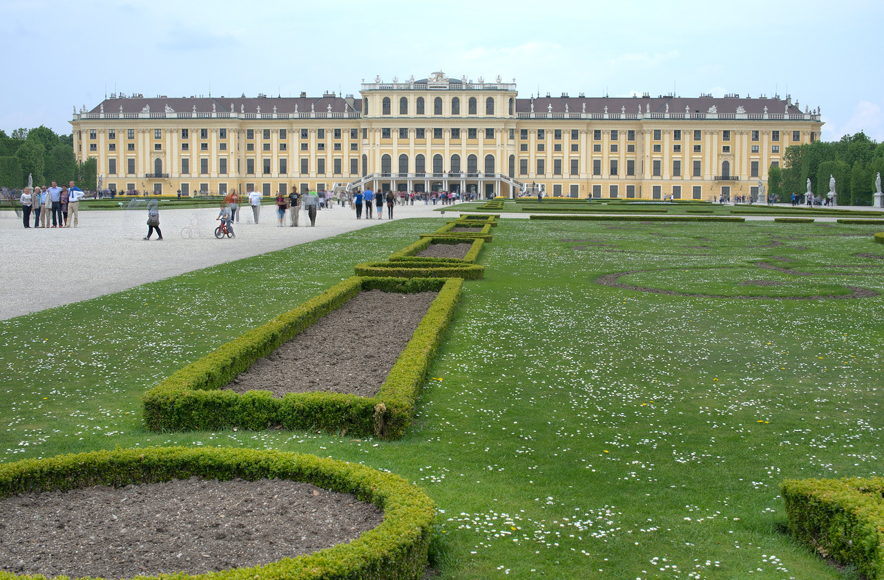 Beautifully manicured lawn at the Schonbrunn Palace - Vienna, Austria