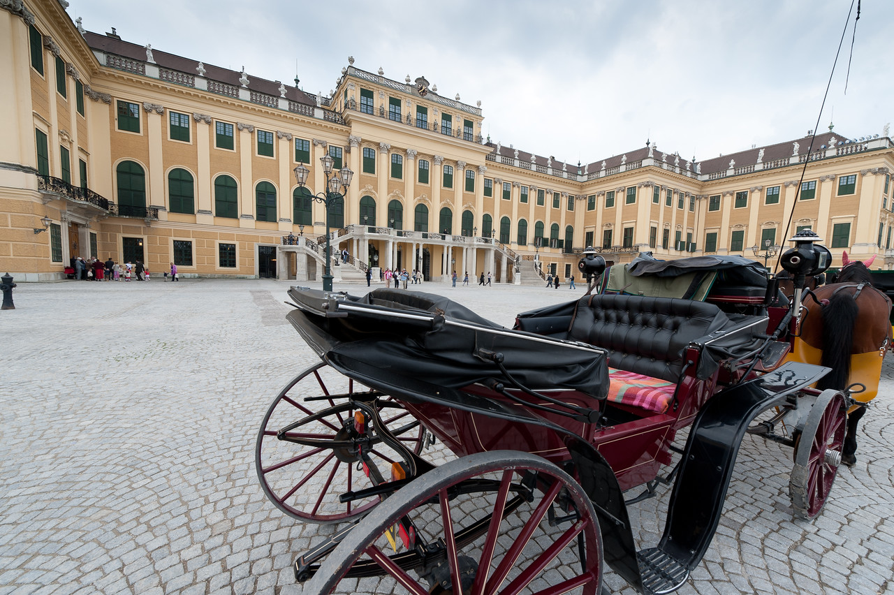 Carriage parked outside Schonbrunn Palace - Vienna, Austria