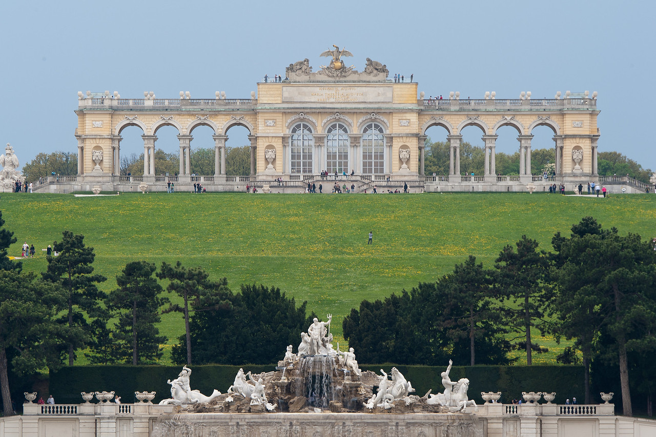 Shot of the Neptune Fountain and The Gloriette - Vienna, Austria
