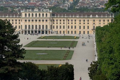 Overlooking view of the Schonbrunn Palace grounds - Vienna, Austria