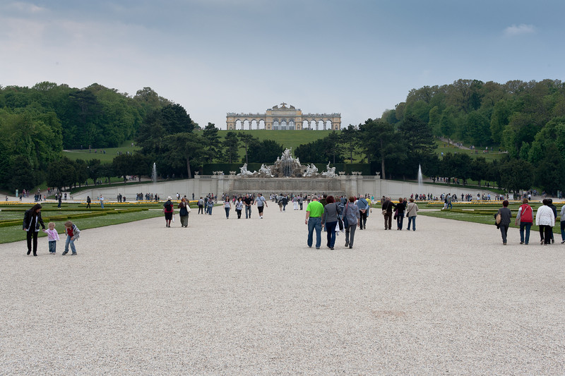 Tourists on the grounds of Schonbrunn Palace - Vienna, Austria