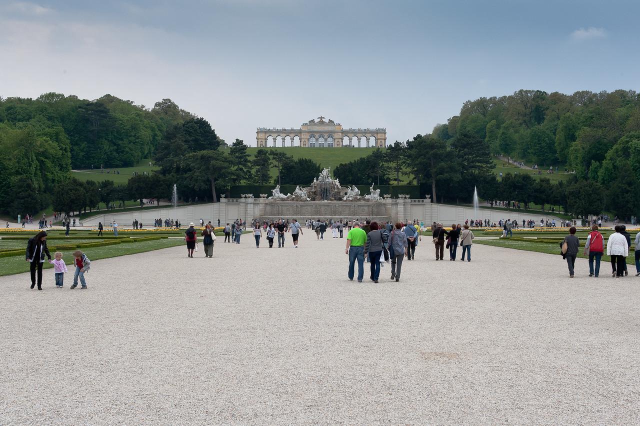 Tourists on the grounds of Schonbrunn Palace - Vienna, Austria