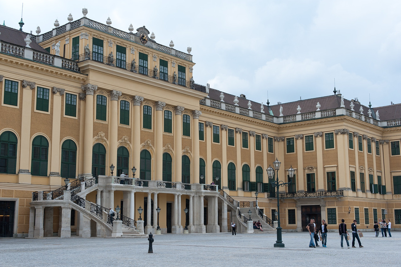 Side profile of the Schonbrunn Palace - Vienna, Austria