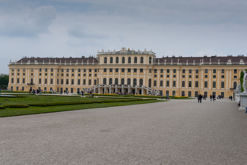 Wide shot of the Schonbrunn Palace facade - Vienna, Austria
