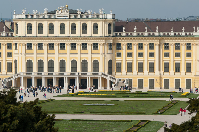 The facade of Schonbrunn Palace in Vienna, Austria