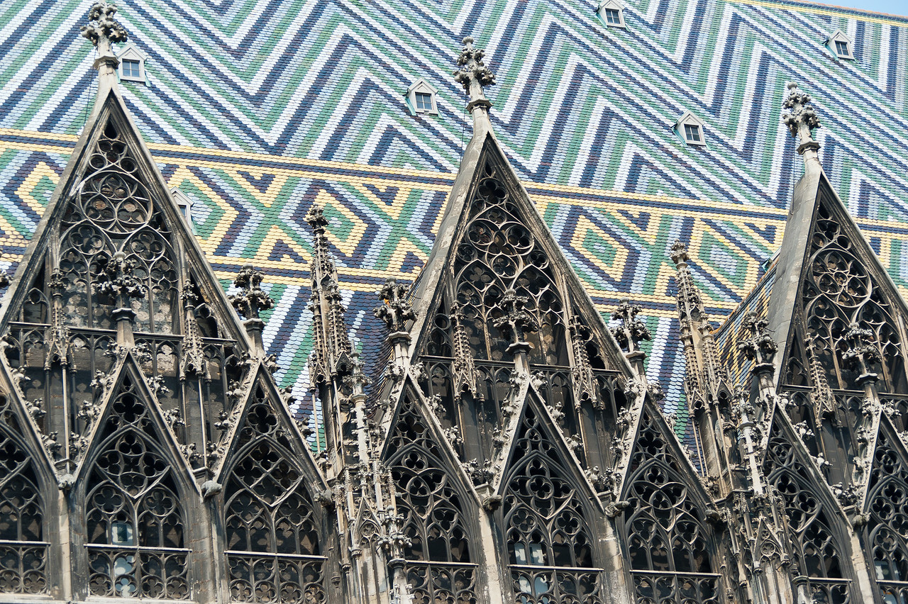Details of windows in St. Stephen's Cathedral in Vienna, Austria