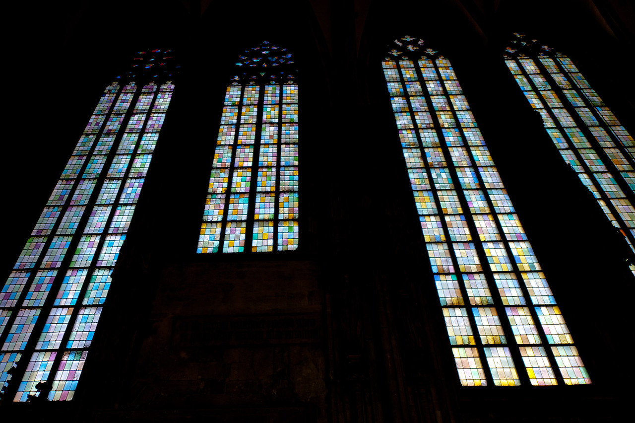 Stained glass on windows at St. Stephen's Cathedral - Vienna, Austria