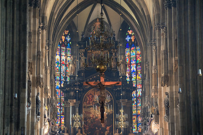 Close-up shot of the altar in St. Stephen's Cathedral - Vienna, Austria