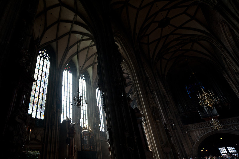 Sunlight coming through large windows in St. Stephen's Cathedra; - Vienna, Austria