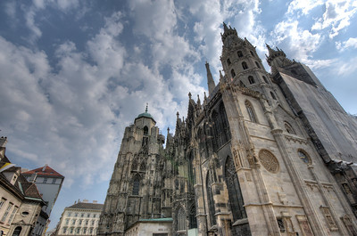 Looking up the St. Stephen's Cathedral in Vienna, Austria
