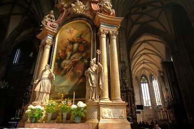 Statues inside the St. Stephen's Cathedral - Vienna, Austria