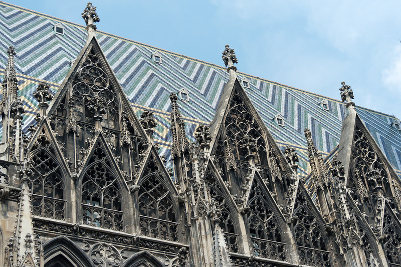 Elaborate details on windows of St. Stephen's Cathedral in Vienna, Austria