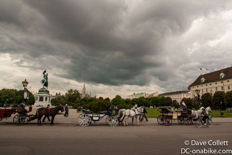 Storm clouds over horses