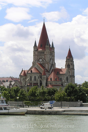 Vienna - Danube River - St  Francis of Assisi Church