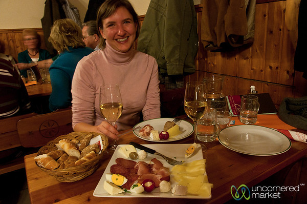 Eating a Snack at the Christ Winery Heuriger - Vienna, Austria
