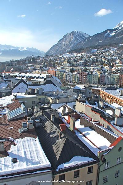 Innsbruck (view from Stadtturm), The Tyrol, Austria.