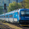 Carrying the Czech version of the Railjet livery, OBBs 1216233 propels a set of Czech Railjet coaches out of Ceska Trebova with a test run on the 24th April 2014.