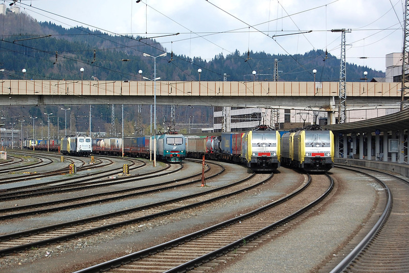 A line up of Freight trains wait departure at Kufstine on the 16th April 2008.