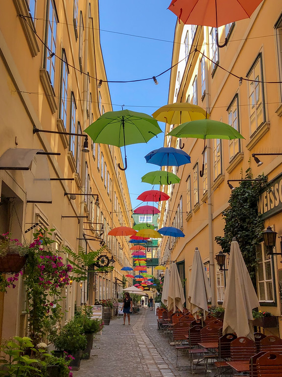 Umbrellas hanging over a Vienna street