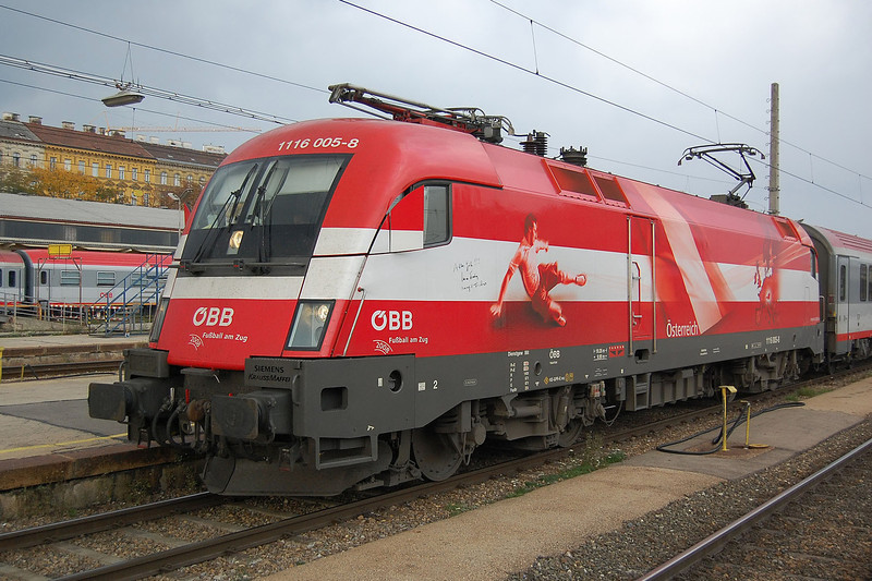 1116 005 in a special livery for Euro 2008 at Wien (Vienna) Westbahnhof on the 5th October 2007.