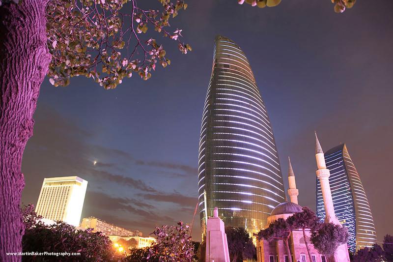 The Flame Towers and Imam Huseyn Mosque, Baku, Azerbaijan.