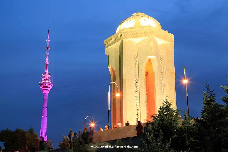 Martyr's Monument (Shahidlar Hiyabany) and TV Tower, Baku, Azerbaijan.