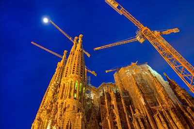 Gaudi's Sagrada Familia reaching for the moon