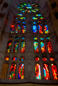 Stained-glass window inside Gaudi's Sagrada Familia