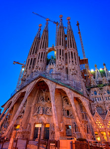 Gaudi's Sagrada Familia just after sunset