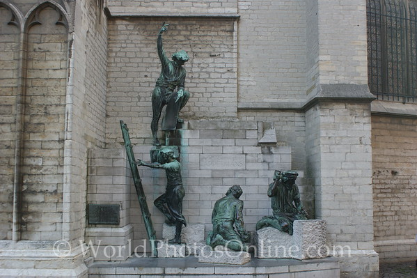Antwerp - Cathedral - Bronzes of Workers Building Cathedral