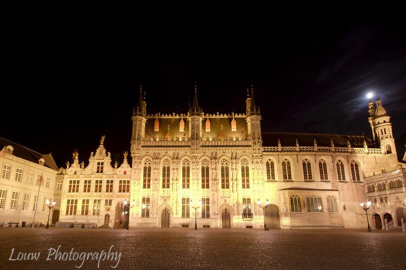 Town Hall (Stadhuis) at night, Brugge, Belgium
