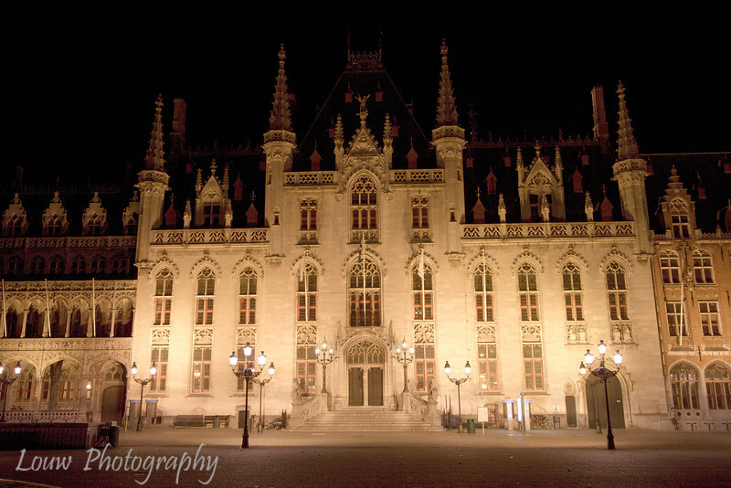 The Provincial Court (Provinciaal Hof) at night, Brugge, Belgium