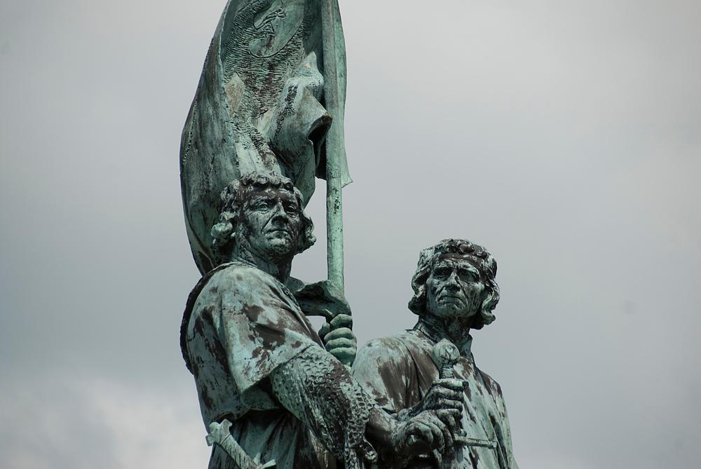 Statue in town square, Brugge, Belgium