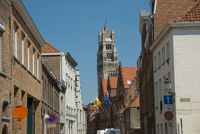 Shot of a side street in Bruges, Belgium