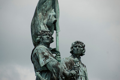 statue of Jan Breydel and Pieter in Market Square - Bruges, Belgium