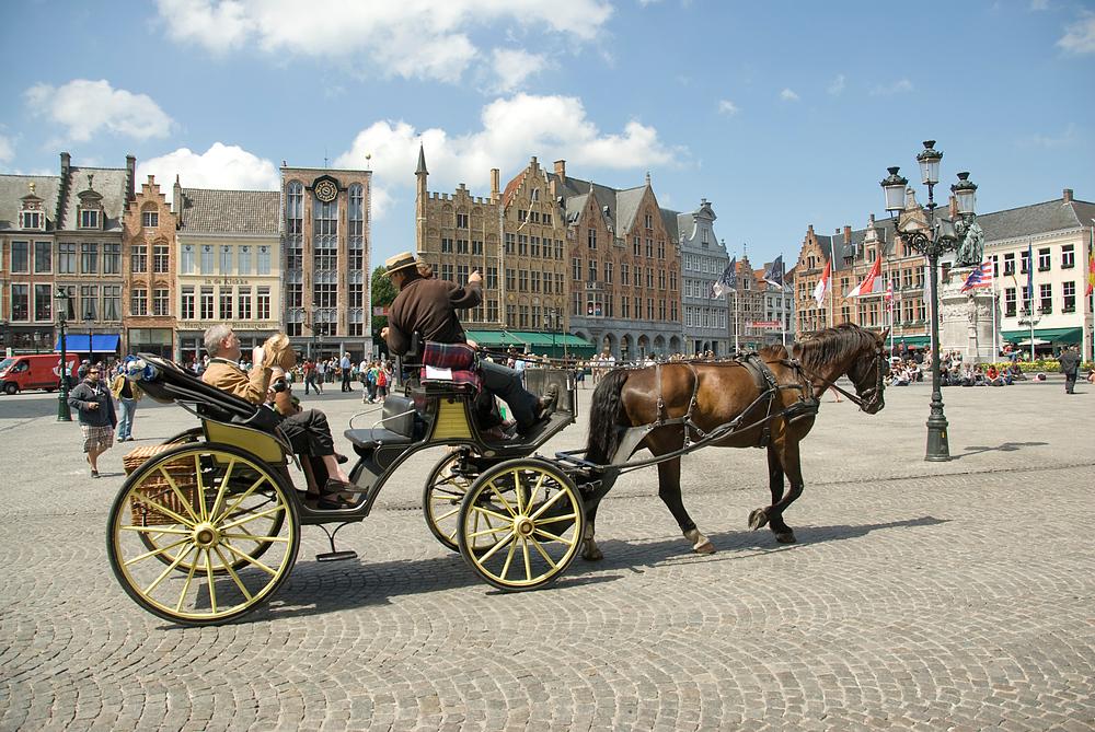 Carriage in Market Square in Brugge, Belgium